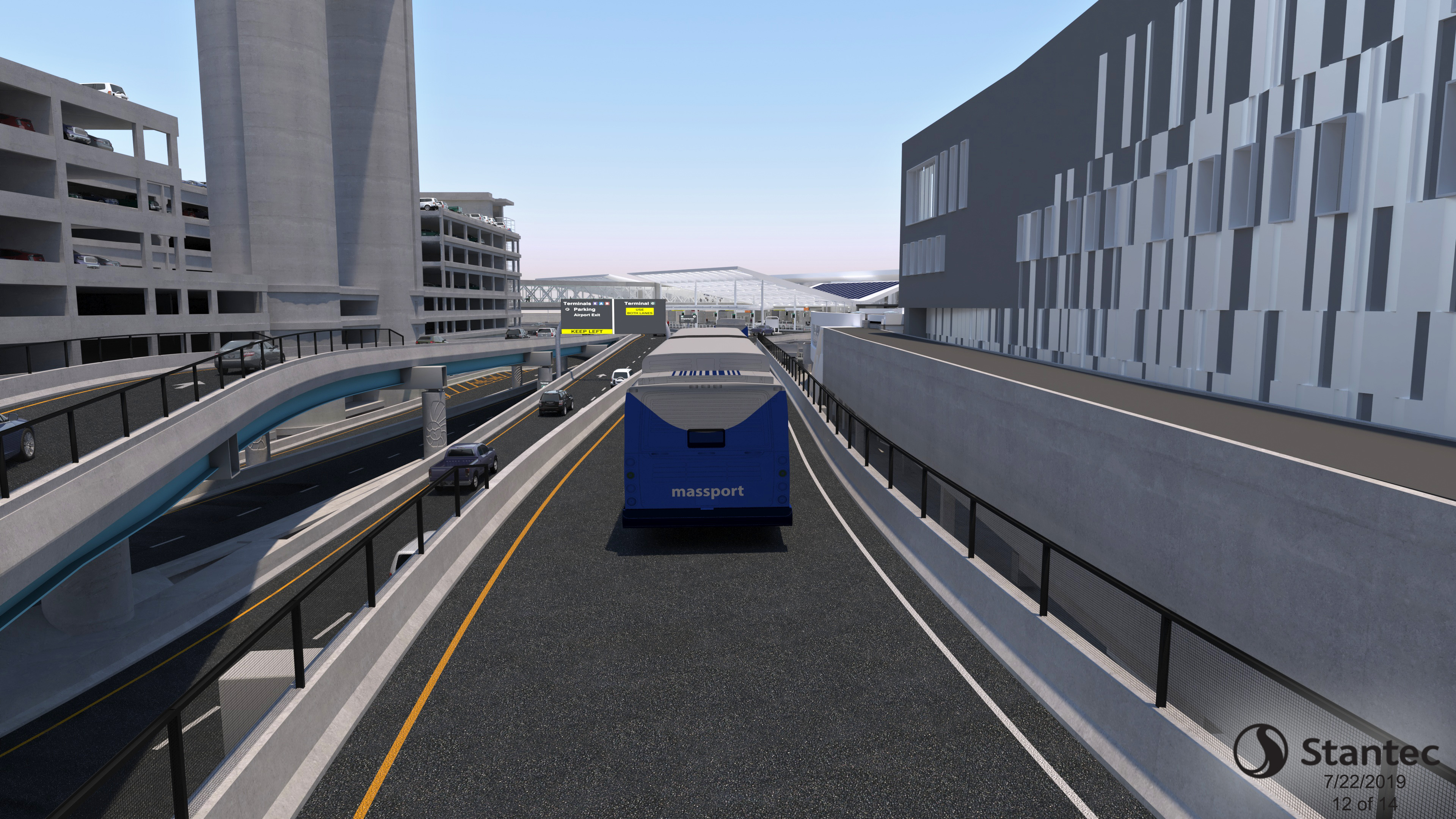 Shuttle Bus on Roadway Rendering
